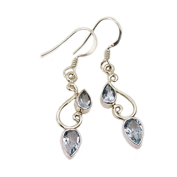 'Blue Simplicity' Blue Topaz & .925 Sterling Silver Dangle Earrings - The Silver Plaza