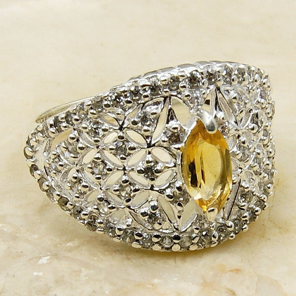 'Forever Sunshine' Sterling Silver Citrine Ring, Size 7.75 - The Silver Plaza