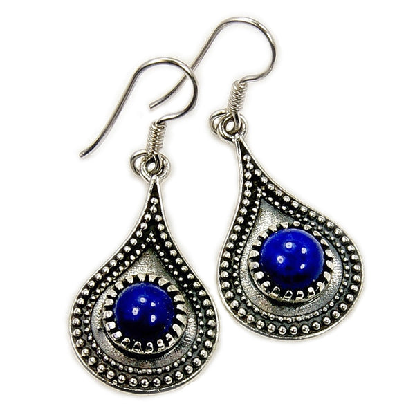 'Blue Heaven' Sterling Silver Lapis Lazuli Earrings - The Silver Plaza
