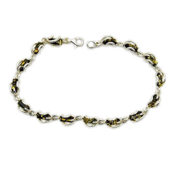 'Under The Sea' Sterling Silver Natural Baltic Amber Bracelet - The Silver Plaza