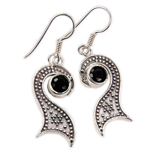 'Midnight Kiss' Sterling Silver Black Onyx Dangle Earrings - The Silver Plaza