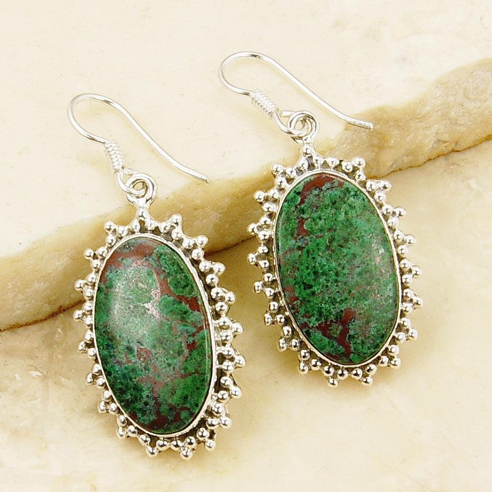 Large Green Shattuckite & Sterling Silver Earrings - The Silver Plaza