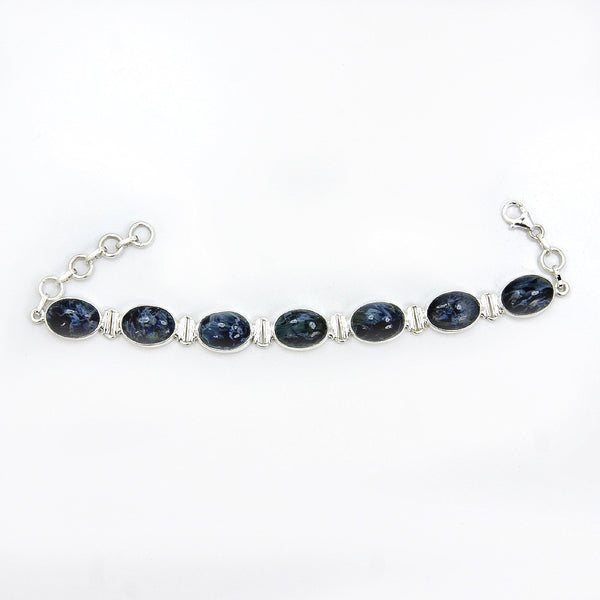 'Midnight Ocean' Pietersite & .925 Sterling Silver Bracelet - The Silver Plaza
