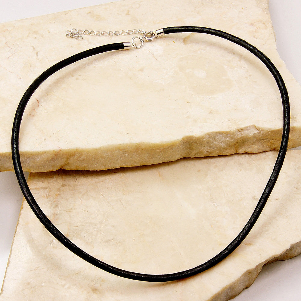 Black Leather Cord Sterling Silver Pendant Necklace - The Silver Plaza