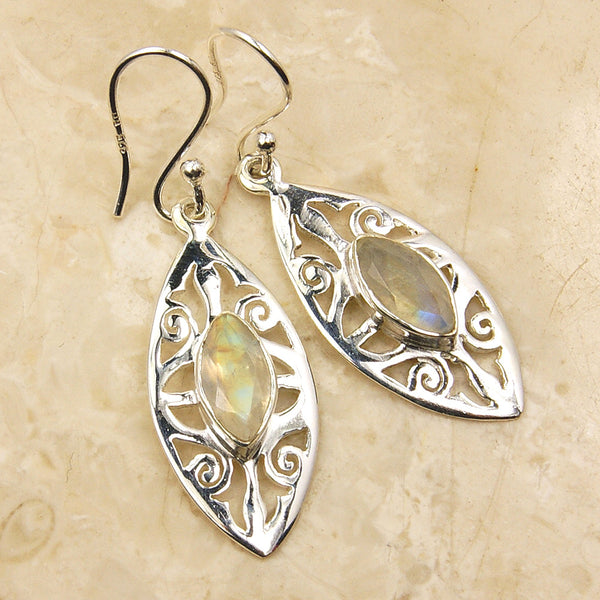 'Ice Princess' Moonstone & Sterling Silver Earrings - The Silver Plaza