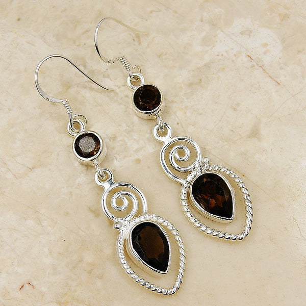 Midnight Princess Smoky Topaz & .925 Sterling Silver Dangle Earrings - Emavera