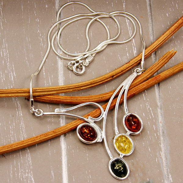 Falling Leaves Sterling Silver Natural Baltic Amber Necklace - The Silver Plaza