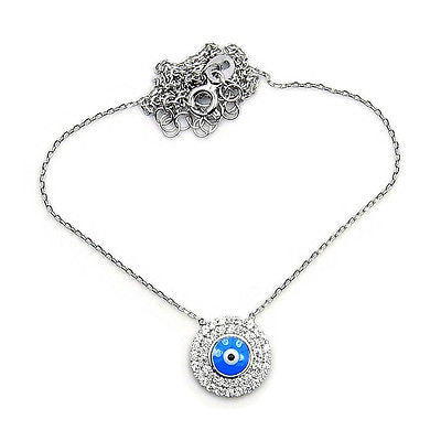 'Evil Eye' Protection CZ & .925 Sterling Silver Necklace Z482 - The Silver Plaza