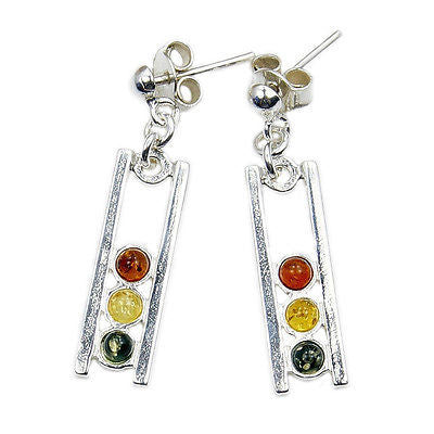 Natural Amber & Sterling Silver Dangle Earrings AD597 - The Silver Plaza