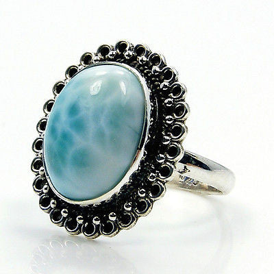 Precious Rare Dominican Larimar & .925 Sterling Silver Ring Size 7.75 - The Silver Plaza