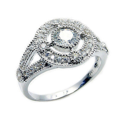Sparkling Cubic Zirconia & .925 Sterling Silver Ring Size 6.75 - The Silver Plaza