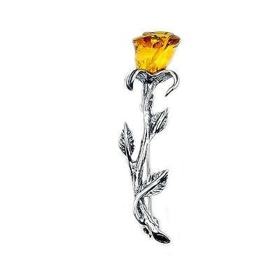 Sterling Silver Natural Baltic Amber Rose Brooch, Pin - The Silver Plaza