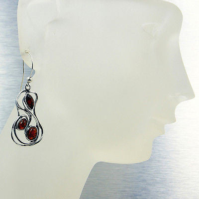 Elegant Natural Baltic Amber & Sterling Silver Earrings - The Silver Plaza