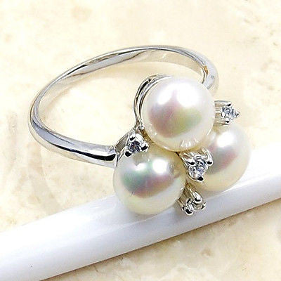 Bridal Custer Style Pearl & .925 Sterling Silver Ring Size 6.75 S21 - The Silver Plaza