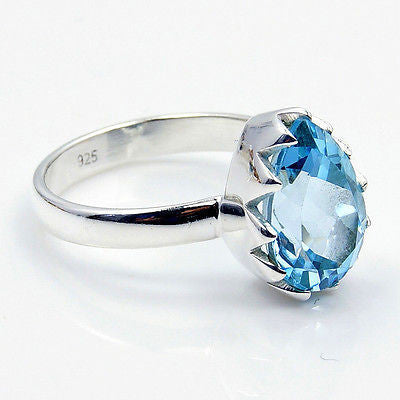 Blue Topaz & .925 Sterling Silver Ring Size 7.5 - The Silver Plaza