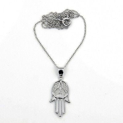 Hamsa Protective Hand of God Fatima Solid .925 Sterling Silver Necklace - The Silver Plaza