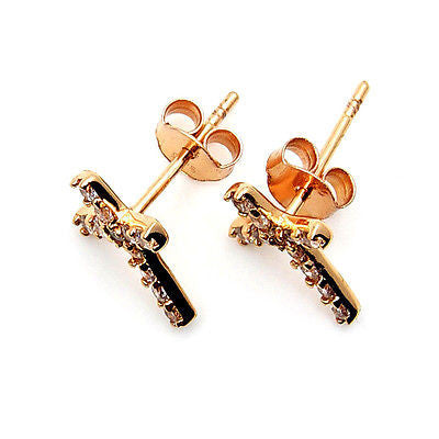 Cubic Zirconia, Rose Gold & .925 Sterling Silver Cross Earrings - The Silver Plaza