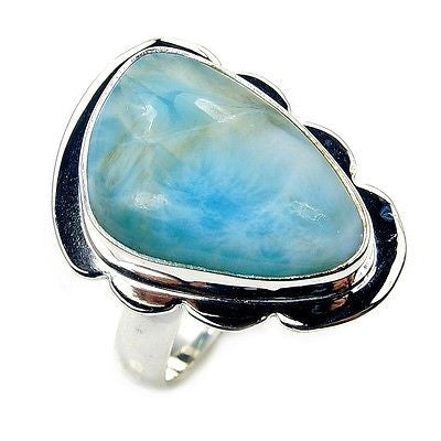 'Caribbean Treasure' Dominican Larimar & .925 Sterling Silver Ring Size 7.75 - The Silver Plaza