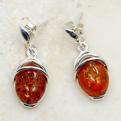 Amber & Sterling Silver Dangle Earrings - The Silver Plaza