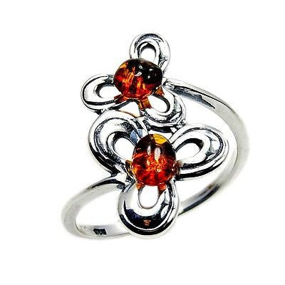 Sterling Silver Natural Baltic Amber Ring Size 9 - Emavera - 1