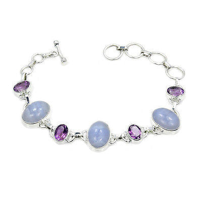 Blue Lace Agate, Amethyst & Sterling Silver Link Bracelet - The Silver Plaza