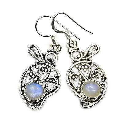 Filigree Style Moonstone & Sterling Silver Earrings - The Silver Plaza