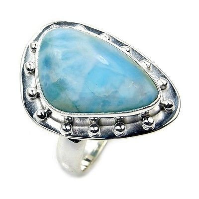 Lovely Dominican Larimar & .925 Sterling Silver Ring Size 5.75 - The Silver Plaza