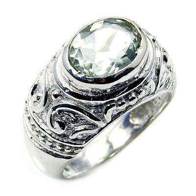 'Reflections' Green Amethyst & .925 Sterling Silver Ring Size 7 1/4 - The Silver Plaza