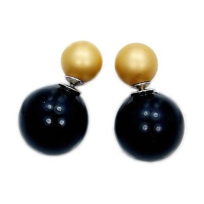 TRIBAL DOUBLE PEARL W. BLACK AND MATTE GOLD & .925 SILVER EARRINGS AB416 - Emavera - 1