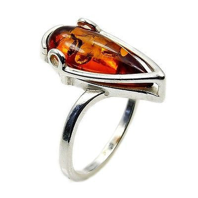 Sterling Silver Baltic Amber Ring Size 7.25 - The Silver Plaza