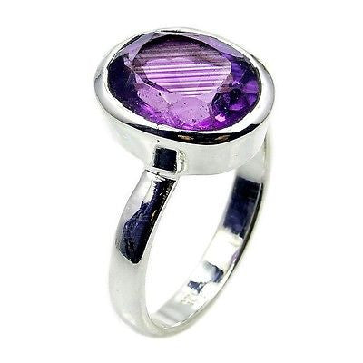 Classic Amethyst & .925 Sterling Silver Ring Size 7.5 AC936 - The Silver Plaza
