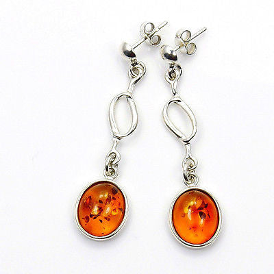 'Summer Romance' Natural Baltic Amber & Sterling Silver Earrings - The Silver Plaza