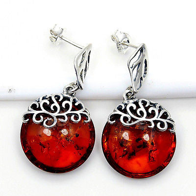 'Flames of Love'  Natural Baltic Amber & Sterling Silver Earrings Y866 - The Silver Plaza