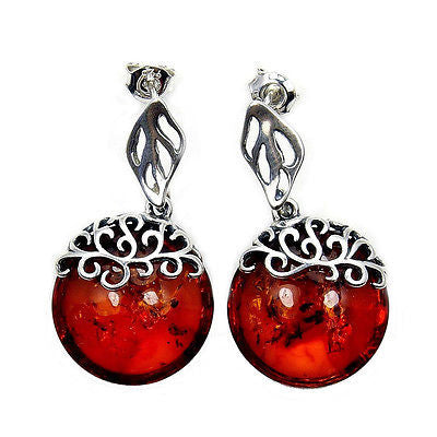 'Flames of Love'  Natural Baltic Amber & Sterling Silver Earrings Y866 - Emavera - 1