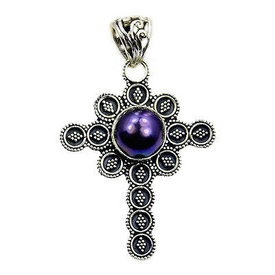 Filigree Style Titanium Pearl & .925 Sterling Silver Cross Pendant AA124 - The Silver Plaza