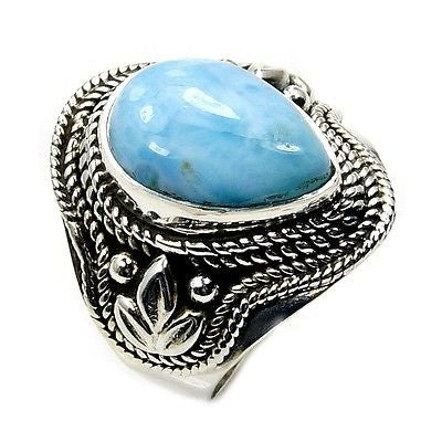 Dominican Larimar & .925 Sterling Silver Ring Size 6.75 - The Silver Plaza