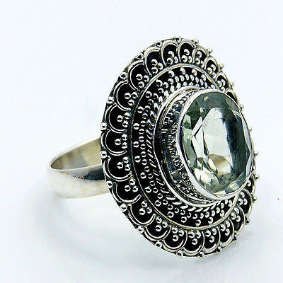 Dazzling Green Amethyst & .925 Sterling Silver Ring Size 8.25 - The Silver Plaza