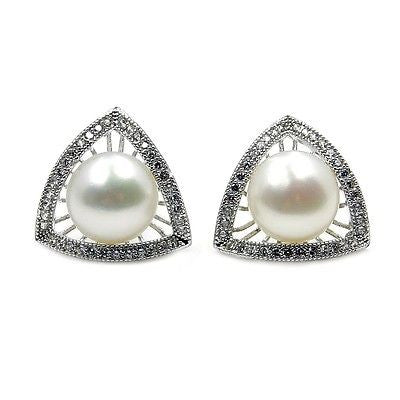 Bridal Style Pearl, CZ & Sterling Silver Stud Earrings AA674 - The Silver Plaza