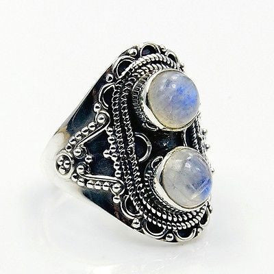 Natural Moonstone & .925 Sterling Silver Ring Size 7.75 AA582 - The Silver Plaza