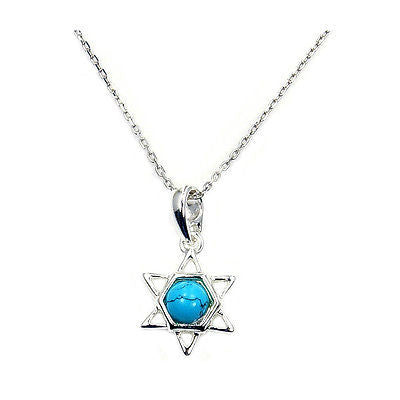 TURQUOISE JEWISH STAR OF DAVID & 925 SILVER NECKLACE PENDANT CHAIN AB777 - Emavera - 1
