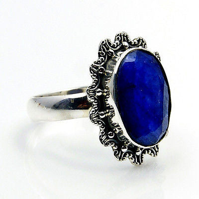 'Royal Glam' Royal Sapphire & .925 Sterling Silver Ring Size 6.75 - The Silver Plaza