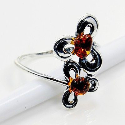 Sterling Silver Natural Baltic Amber Ring Size 9 - The Silver Plaza