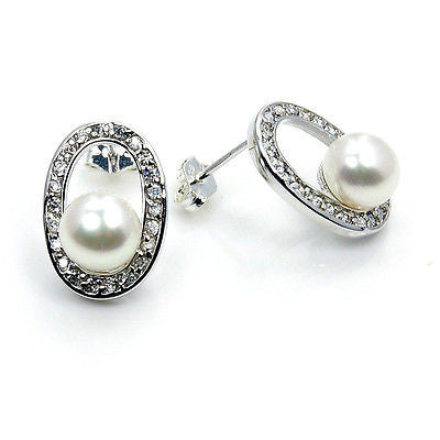 Bridal Style Pearl, CZ & Sterling Silver Stud Earrings - The Silver Plaza