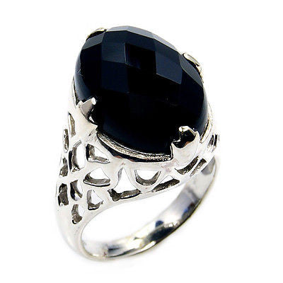 'Timeless Elegance' Black Onyx & .925 Sterling Silver Ring Size 7 1/2 - The Silver Plaza