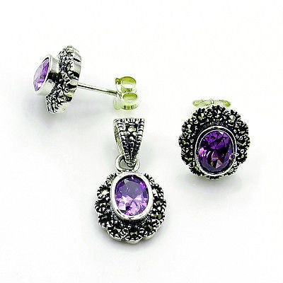 Sparkling Alexandrite, Marcasite & Sterling Silver Earrings and Pendant Set - The Silver Plaza
