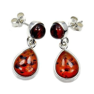 Natural Baltic Amber & Sterling Silver Earrings AD71 - The Silver Plaza