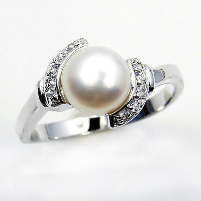"""Bride To Be"" Pearl & Sterling Silver Ring Size 5.75 - The Silver Plaza"