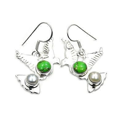 Lime Mohave Turquoise & Sterling Silver Earrings - The Silver Plaza