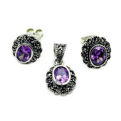 Sparkling Alexandrite, Marcasite & Sterling Silver Earrings and Pendant Set - Emavera - 1