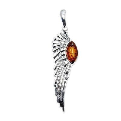 Baltic Amber & .925 Sterling Silver Angel Wing Pendant - The Silver Plaza